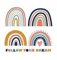 poster arcobaleno con segui il testo dei tuoi sogni vettore