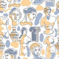 antica grecia e roma set tradizione e cultura vector seamless pattern. l'andamento lineare dell'antico disegno superficiale, antica grecia e antica roma.