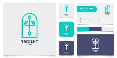 logo emblema pianta tridente semplice e minimalista con modello di biglietto da visita vettore