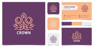 logo corona ornamentale con modello di biglietto da visita vettore
