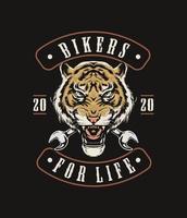 motociclisti tigre per il design di abbigliamento di vita vettore