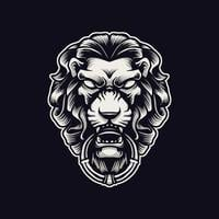 illustrazione di ornamento testa di leone vettore