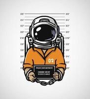 illustrazione di design astronauta criminale vettore