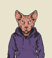 illustrazione di felpa con cappuccio da portare gatto sfinge vettore