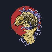 illustrazione disegnata a mano di pesce koi vettore