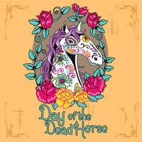 Fronte del cavallo del primo piano con lo stile dell'illustrazione del cranio dello zucchero vettore