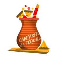 Cocktail di Cantarito su priorità bassa bianca vettore