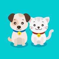 cartone animato carino cucciolo e gattino vettore