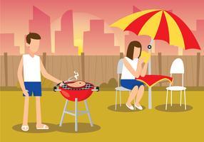 Coppia facendo barbecue romantico