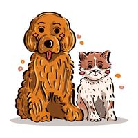 Cucciolo e Gattino vettore