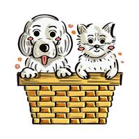 cucciolo e gattino nella scatola vettore