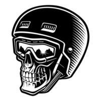 illustrazione vettoriale in bianco e nero di un teschio di sciatore