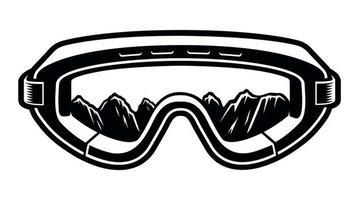 occhiali da montagna da sci design in bianco e nero vettore