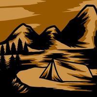 progettazione grafica del paesaggio artistico di avventura vettore