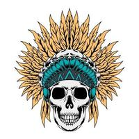 illustrazione vettoriale di nativi americani cranio