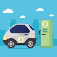 auto elettrica nella stazione di ricarica vettore