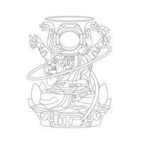 illustrazione disegnata a mano di vettore di astronauta e polpo