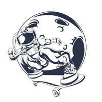 astronauta freestyle inchiostrazione illustrazione grafica vettore