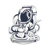 dj astronauta inchiostrazione illustrazione grafica vettore
