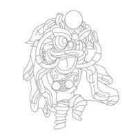 illustrazione disegnata a mano di vettore della danza del leone