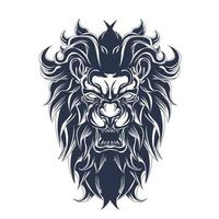 leone arrabbiato inchiostrazione illustrazione grafica vettore