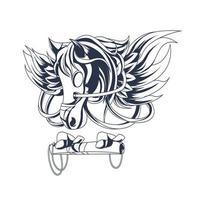 Pegasus inchiostrazione illustrazione grafica vettore