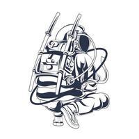 astronauta squat inchiostrazione illustrazione grafica vettore