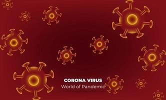 virus corona a Wuhan. vettori corona virus. sfondo rosso. illustrazione vettoriale