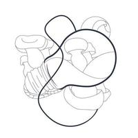 illustrazione disegnata a mano di vettore della lampada a fungo