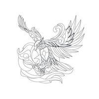 illustrazione disegnata a mano di vettore di garuda indonesiano