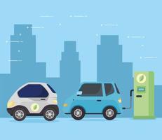 auto elettriche nella stazione di ricarica vettore