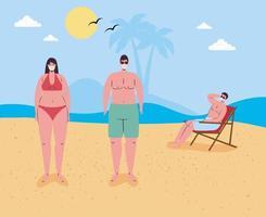 persone in costume da bagno, allontanamento sociale e maschere per il viso in spiaggia vettore