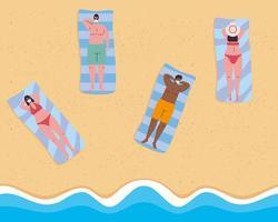 persone che prendono il sole e si allontanano socialmente in spiaggia vettore