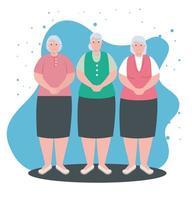 gruppo carino donne anziane, donne anziane sorridenti vettore