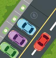 vista dall'alto di auto elettriche nel parcheggio, concetto rispettoso dell'ambiente vettore