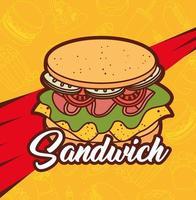 fast food, pranzo o pasto delizioso panino vettore