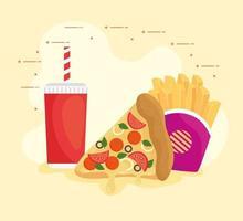 pizza con patatine fritte e bevande, combinazione di fast food vettore