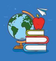 concetto di educazione con materiale didattico vettore