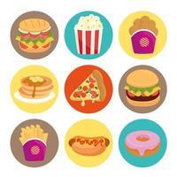 set di fast food, pranzo o pasto vettore