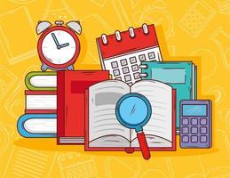 concetto di educazione, libro aperto con lente di ingrandimento e icone di scuola vettore