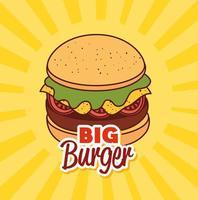 fast food, pranzo o pasto con un grande hamburger vettore