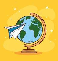 aereo di carta che viaggia in tutto il mondo vettore