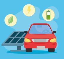 auto elettrica con pannello solare, concetto rispettoso dell'ambiente vettore
