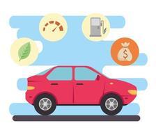 auto elettrica, concetto rispettoso dell'ambiente vettore