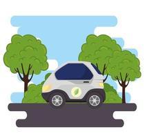 veicolo auto elettrica sulla strada con la natura vettore