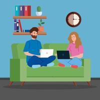 coppia che lavora con i laptop in soggiorno vettore