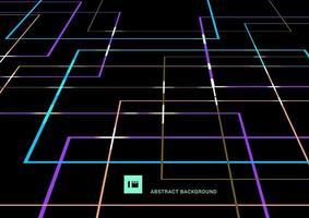 linee geometriche astratte di colore vibrante si sovrappongono con prospettiva leggera su sfondo nero in stile retrò. vettore