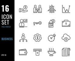 set di 16 icone di affari, stile di linea sottile vettore