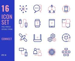 set di 16 icone relative alla connessione, stile di linea sottile vettore