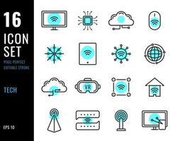 set di icone di linea di tecnologia, relative all'elettronica. vettore